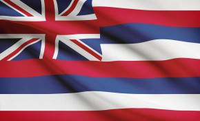 Series Of Ruffled Flags. State Of Hawaii.