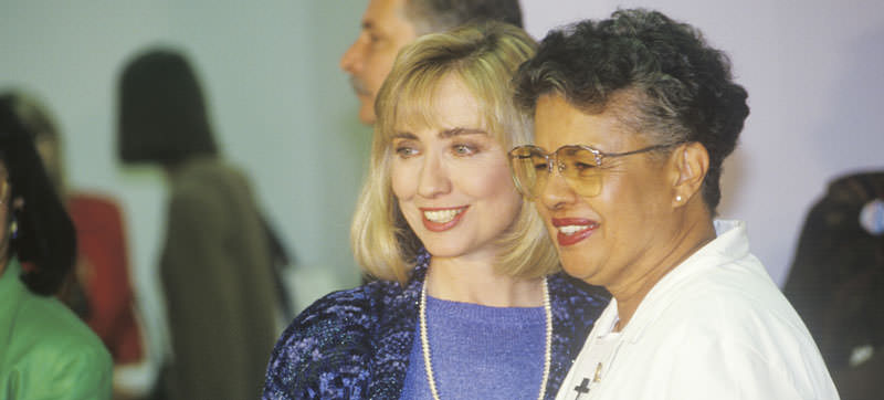 Hillary Rodham Clinton at the Maxine Waters Employment Preparation Center in 1992 in So. Central, LA